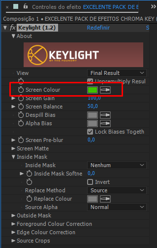 efeito keylight 1.2 after effects