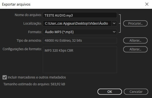 Exportar áudio no Audition