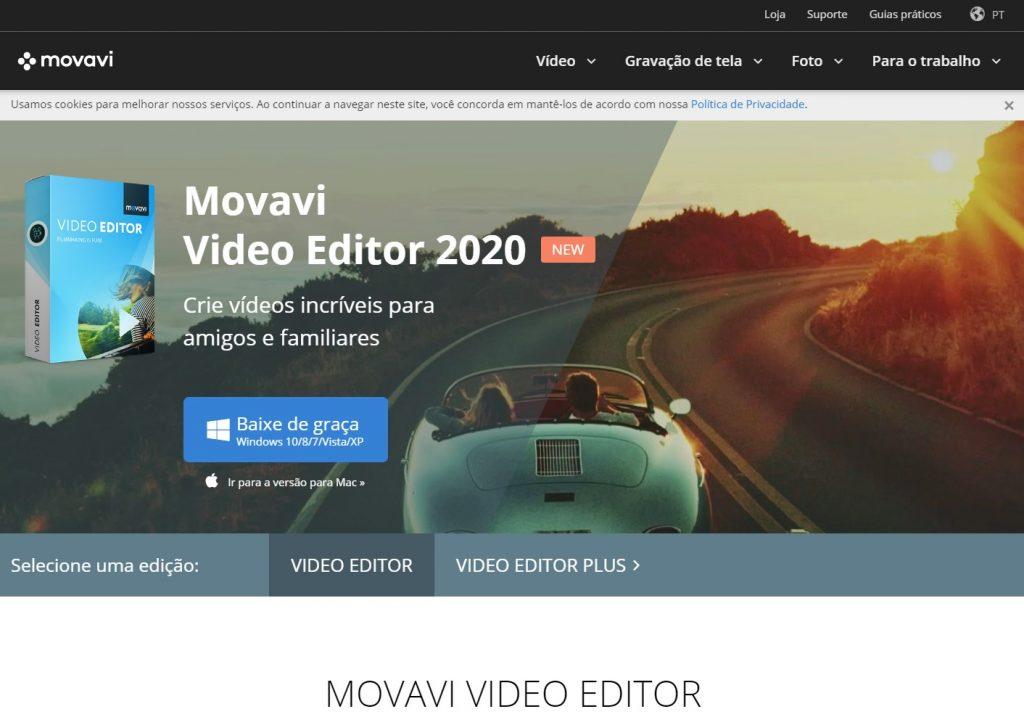 Site do Movavi Video Editor, outro programa para gravar a tela