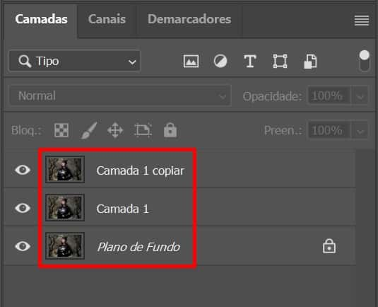 Como fazer o Efeito Glitch no Photoshop: camadas triplicadas